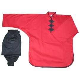 Tenue Kung Fu rouge / noire FUJI MAE