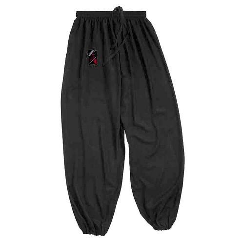 Pantalon Tai Chi noir bas serré