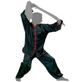 Tenue Kung Fu satin noir à liseret rouge