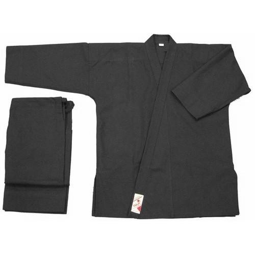 Kimono noir - Vo phuc noir semi-claquant 10 oz