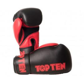 Gants multiboxe XLP Top Ten rouge et noir