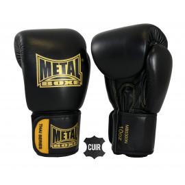 Gants de boxe Thaï cuir métal boxe