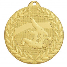 Médaille frappée judo or - 50 mm