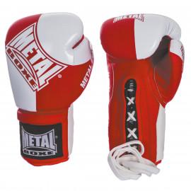 Gants Pro à lacets métal boxe rouge