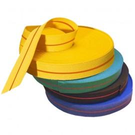 Rouleau de ceintures couleur unie ou bicolore avec liseret rouge